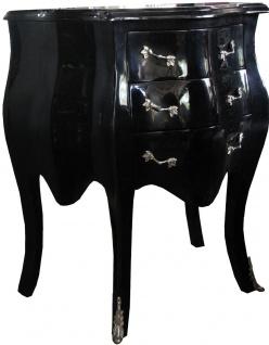 Casa Padrino Barock Kommode Schwarz / Silber H 74 cm, B 64 cm, T 40 cm - Nachttisch Kommode - Vorschau 2
