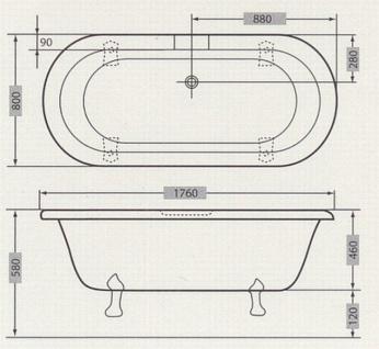 Freistehende Luxus Badewanne Jugendstil Milano Weiß/Altgold - Barock Badezimmer - Vorschau 2