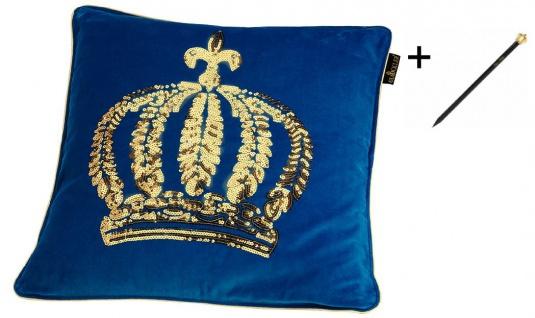 Harald Glööckler Designer Zierkissenhülle Krone mit Pailletten Blau / Gold 50 x 50 cm + Casa Padrino Luxus Barock Bleistift mit Kronendesign