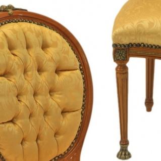 Casa Padrino Barock Luxus Esszimmer Medaillon Stuhl Gold Muster / Helles Mahagoni - Antik Stil - Möbel - Vorschau 2