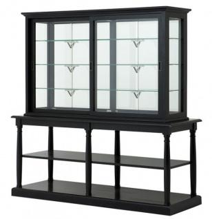 Casa Padrino Luxus Glas Vitrinen Schrank Schwarz Massivholz London Wohnzimmer Schrank Barock Jugendstil Rokoko Vitrine Ladeneinrichtung