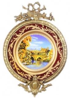 Casa Padrino Barock Keramik Wandbild mit verziertem Rahmen Mehrfarbig / Bordeauxrot / Gold 28 cm - Barock Wanddeko