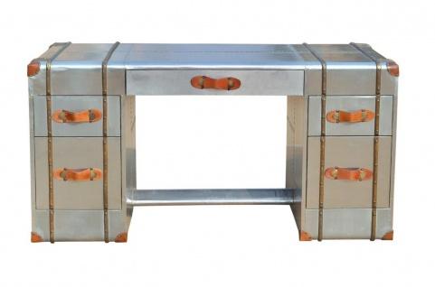 Casa Padrino Art Deco Aluminium Schreibtisch - Vintage Look Flieger Möbel