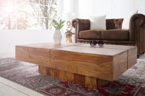 Casa Padrino Designer Massivholz Couchtisch Natur 110 x 30 cm - Salon Wohnzimmer Tisch - Vorschau 3