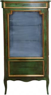 Casa Padrino Barock Vitrine Antik Stil Grün / Gold Vitrinenschrank 160 cm - Wohnzimmer Schrank - Antik Stil Möbel