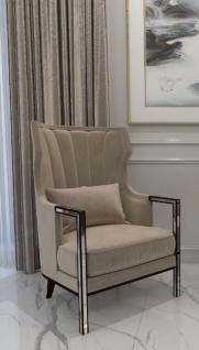 Casa Padrino Luxus Art Deco Samt Sessel Grau / Schwarz / Silber 70 x 75 x H. 100 cm - Edler Wohnzimmer Sessel - Luxus Qualität - Art Deco Möbel