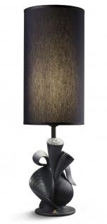 Casa Padrino Luxus Tischleuchte Porzellan Nature Schwarz H54 x 16 cm - Luxus Beleuchtung Tischlampe