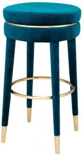 Casa Padrino Luxus Barhocker Blau / Messing Ø 41 x H. 78 cm - Runder Samt Hocker - Luxus Möbel
