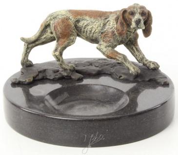 Casa Padrino Luxus Marmor Aschenbecher mit dekorativer Bronzefigur Hund Mehrfarbig / Schwarz Ø 8, 2 x H. 13 cm - Luxus Qualität