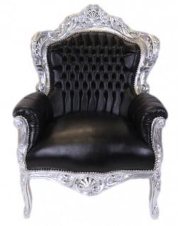 Casa Padrino Barock Sessel King Schwarz / Silber Lederoptik - Möbel Antik Stil