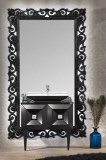 Casa Padrino Luxus Barock Badezimmer Set Schwarz - Waschtisch mit Waschbecken und Wandspiegel - Prunkvolle Badezimmermöbel im Barockstil