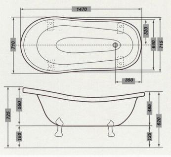 Freistehende Luxus Badewanne Jugendstil Roma Hellblau/Weiß/Altgold 1470mm - Barock Badezimmer - Mod1 - Vorschau 2
