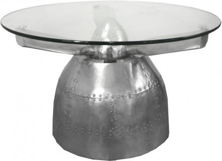 Casa Padrino Luxus Aluminium Couchtisch Rund 95 x H 50 cm - Art Deco Vintage Flieger Möbel Tisch