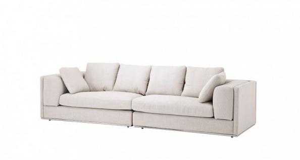 Casa Padrino Luxus Sofa Panama Natural mit poliertem Stahl Sockel - Luxus Möbel
