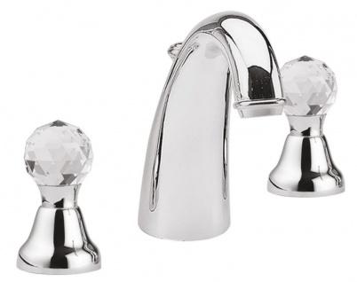 Luxus Waschtisch Armatur / Dreilochbatterie mit Swarovski Kristallglas Silber - Luxus Qualität