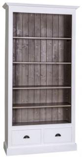 Casa Padrino Landhausstil Bücherschrank Weiß / Braun 109 x 39 x H. 210 cm - Wohnzimmermöbel im Landhausstil