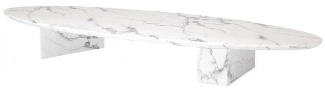 Casa Padrino Luxus Kunstmarmor Couchtisch Weiß 240 x 80 x H. 28, 5 cm - Ovaler Wohnzimmertisch - Wohnzimmer Möbel - Luxus Qualität