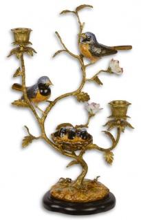 Casa Padrino Jugendstil Messing Kerzenhalter mit Porzellan Vögel Mehrfarbig / Gold 24, 7 x 17, 5 x H. 38 cm - Wohnzimmer Deko