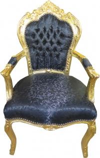 Casa Padrino Barock Esszimmerstuhl schwarz Muster / gold mit Armlehnen 53 x 57 x H. 108 cm - Antik Stil Möbel