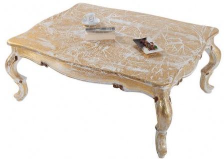 Casa Padrino Luxus Barock Massivholz Couchtisch Weiß / Antik Gold 103 x 78 x H. 42 cm - Wohnzimmertisch im Barockstil - Barockmöbel