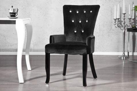 Casa Padrino Luxus Esszimmer Stuhl mit Armlehnen und Strasssteinen, Schwarz Mod2 - Barock Möbel