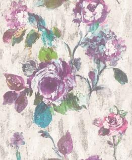 Casa Padrino Barock Vliestapete Grau / Blau / Grün / Lila 10, 05 x 0, 53 m - Tapete mit Blumenmuster - Deko Accessoires