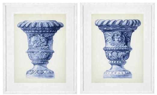 Casa Padrino Luxus Bilder Set Barock Vasen Blau / Creme / Weiß 64 x H. 79 cm - Kunstdrucke - Wandbilder - Wanddeko - Deko Accessoires
