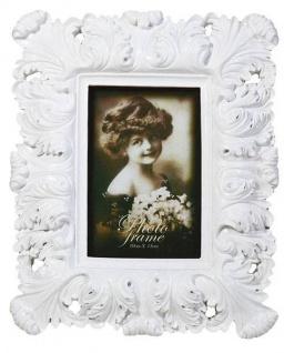Barock Bilderrahmen Hochglanzlack Weiß 10x15cm - Jugendstil Rokoko Photorahmen - Fotorahmen