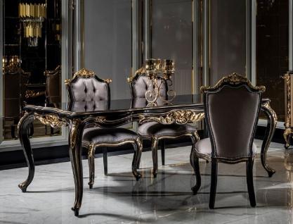Casa Padrino Luxus Barock Esszimmer Set Silber / Schwarz / Gold - 1 Esstisch & 6 Esszimmerstühle - Barock Esszimmer Möbel - Edel & Prunkvoll