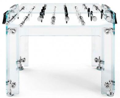Casa Padrino Luxus Designer Outdoor Glas Kickertisch Schwarz / Weiß / Silber 140 x 74 x H. 92 cm - Hotel Kollektion - Luxus Qualität