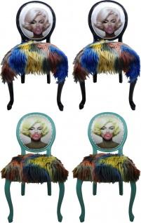 Casa Padrino Luxus Barock Esszimmer Set Marilyn Monroe Bubble Gum Crazy Mehrfarbig / Schwarz ( 4 Esszimmer Stühle)