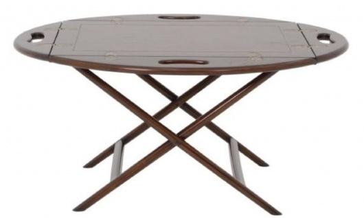 Casa Padrino Luxus Couchtisch / Tablett Dunkelbraun 87 x 66 x H. 42 cm - Ovaler Mahagoni Wohnzimmertisch - Serviertisch - Luxus Möbel