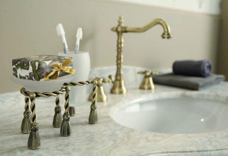 Luxus Bad Zubehör - Jugendstil Retro Waschbecken Armatur Waschtisch Dreilochbatterie Altgold / Bronze Serie Milano - Made in Italy