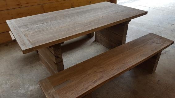 Casa Padrino Gartenmöbel Set Rustikal - Tisch + 2 Garten Bänke (Länge 200 cm) - Eiche Massivholz - Echtholz Möbel Massiv - Vorschau 5