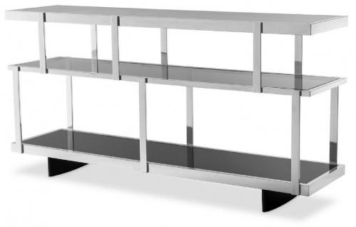 Casa Padrino Luxus Konsole Silber / Schwarz 180 x 46 x H. 91 cm - Edelstahl Schrank mit Glasregalen - Regalschrank - Wohnzimmer Schrank - Büroschrank - Luxus Qualität