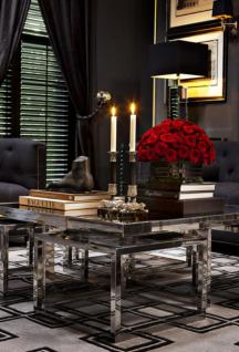 Casa Padrino Luxus Art Deco Designer Couchtisch 5er Set mit Rauchglas - Wohnzimmer Salon Tisch - Luxus Qualität - Vorschau 5