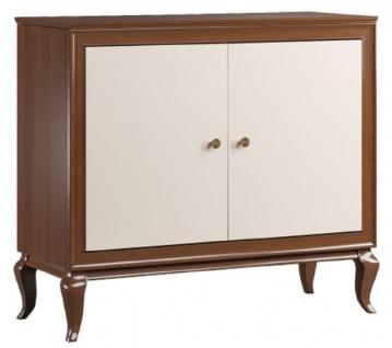 Casa Padrino Luxus Art Deco Sideboard Dunkelbraun / Cremefarben 108, 7 x 43, 5 x H. 95, 5 cm - Massivholz Schrank mit 2 Türen - Art Deco Wohnzimmer Möbel