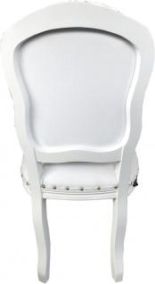 Casa Padrino Luxus Barock Esszimmer Set Weiß / Weiß 55 x 54 x H. 103 cm - 6 handgefertigte Esszimmerstühle mit Kunstleder - Barock Esszimmermöbel - Vorschau 4