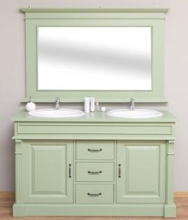 Casa Padrino Landhausstil Badezimmer Set Hellgrün - 1 Doppelwaschtisch & 1 Wandspiegel - Landhausstil Badezimmer Möbel