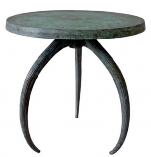Casa Padrino Designer Beistelltisch Grau / Antik Grün Ø 48 x H. 54 cm - Runder Aluminium Tisch - Aluminium Möbel
