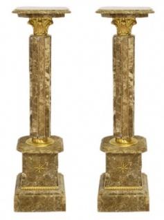 Casa Padrino Barock Marmor Säulen Set Grau-Braun / Gold - Marmor Säule (2 Stk)