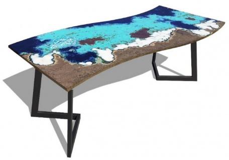 Casa Padrino Luxus Esstisch Mehrfarbig / Schwarz 170 x 80 x H. 74 cm - Moderner Küchentisch mit gebogener Lavastein Tischplatte und Edelstahl Gestell - Esszimmmer Möbel - Luxus Qualität - Vorschau 1