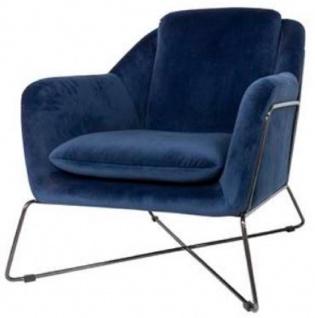 Casa Padrino Luxus Lounge Club Samt Sessel Blau / Schwarz 75 x 87 x H. 80 cm - Hotel Möbel