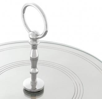Casa Padrino Luxus Kuchen Servierplatte mit Tragegriff Silber Ø 29 x H. 18, 5 cm - Luxus Etagere 1-Stufig - Vorschau 3