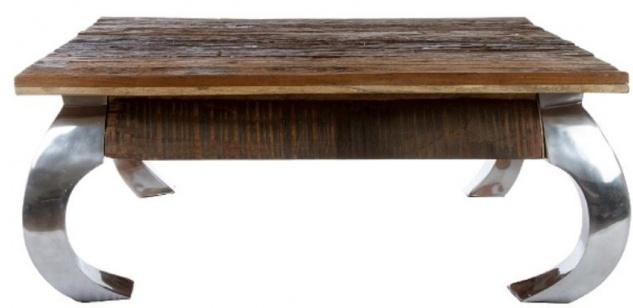 Casa Padrino Designer Couchtisch Braun / Silber 100 x 100 x H. 40 cm - Luxus Wohnzimmermöbel - Vorschau 2