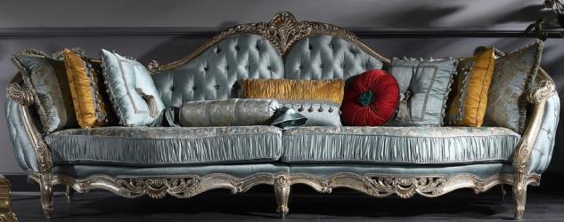 Casa Padrino Luxus Barock Sofa Türkis / Silber / Gold 310 x 99 x H. 113 cm - Prunkvolles Chesterfield Wohnzimmer Sofa im Barockstil