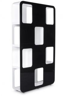 Designer Bücherregal aus lackiertem Holz Weiß/Schwarz Hochglanz Höhe: 207cm, Breite: 120cm, Tiefe: 30 cm, modernes Bücherregal - Vorschau 2