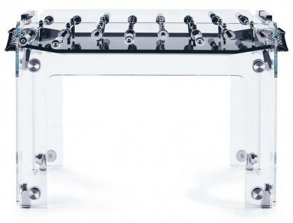 Casa Padrino Luxus Designer Indoor Glas Kickertisch Schwarz / Silber 140 x 74 x H. 92 cm - Hotel Kollektion - Luxus Qualität