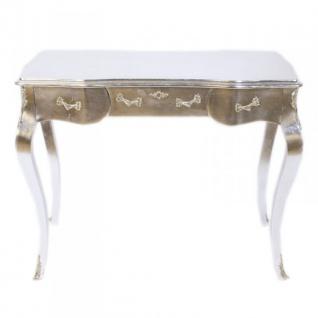 Casa Padrino Luxus Barock Schreibtisch / Konsole Silber inkl. Glasplatte 97 x 78 x 48 cm - Sekretär Luxus Möbel