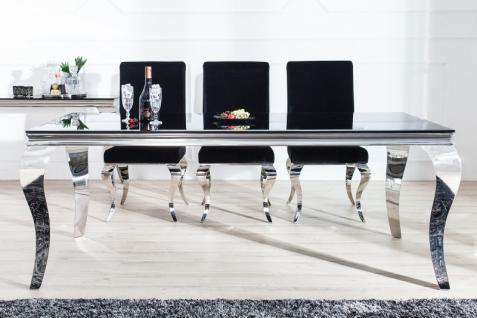 Casa Padrino Luxus Esszimmer Set Schwarz / Silber - Esstisch 200 cm + 6 Stühle - Luxus Qualität - Modern Barock